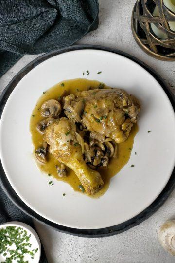 Pollo con champiñones